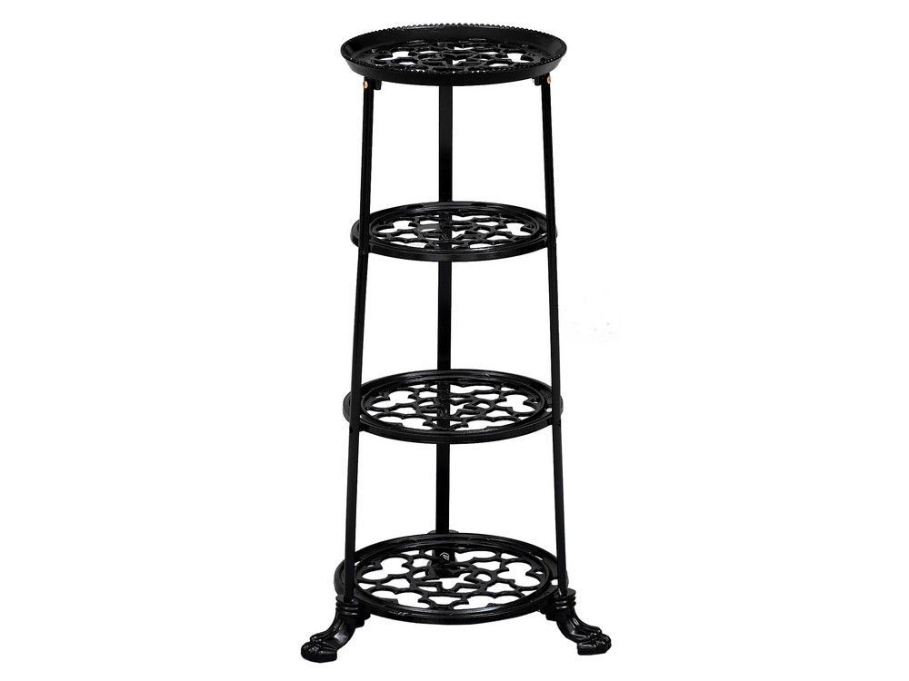 4 Tier Metal Pan Stand in Black