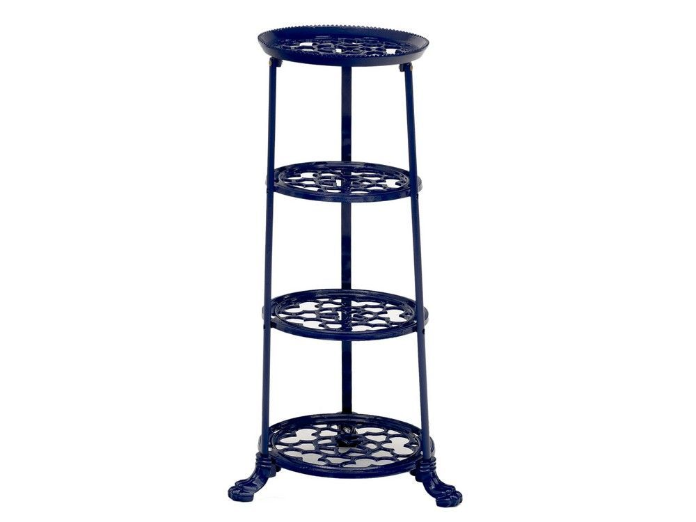 4 Tier Metal Pan Stand in Navy Blue