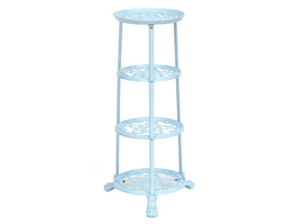 4 Tier Metal Pan Stand in Pale Blue