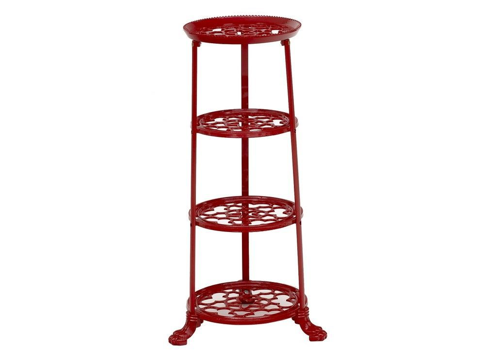 4 Tier Metal Pan Stand in Red