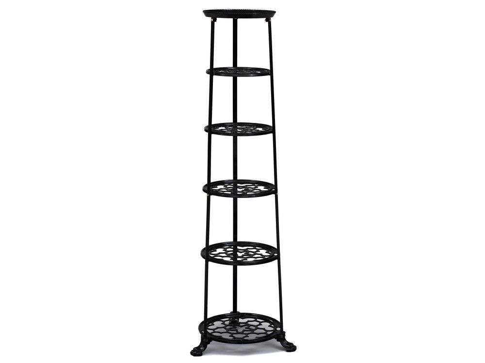 6 Tier Metal Pan Stand in Black