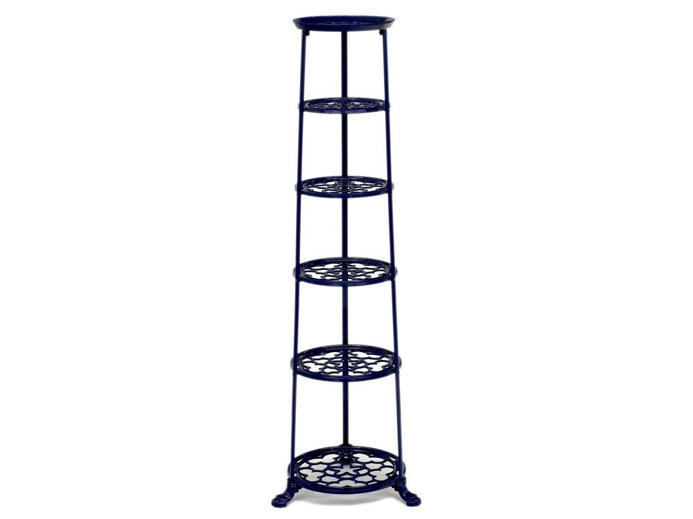 6 Tier Metal Pan Stand in Navy Blue