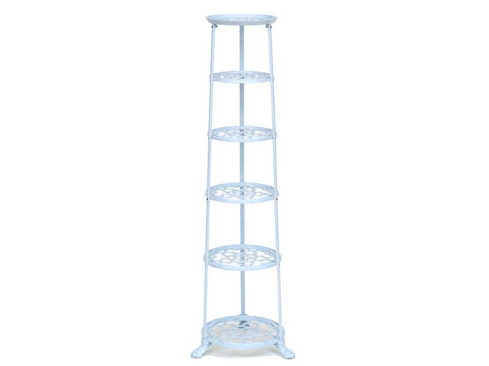 6 Tier Metal Pan Stand in Pale Blue