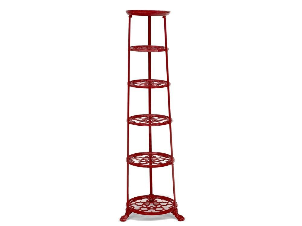 6 Tier Metal Pan Stand in Red