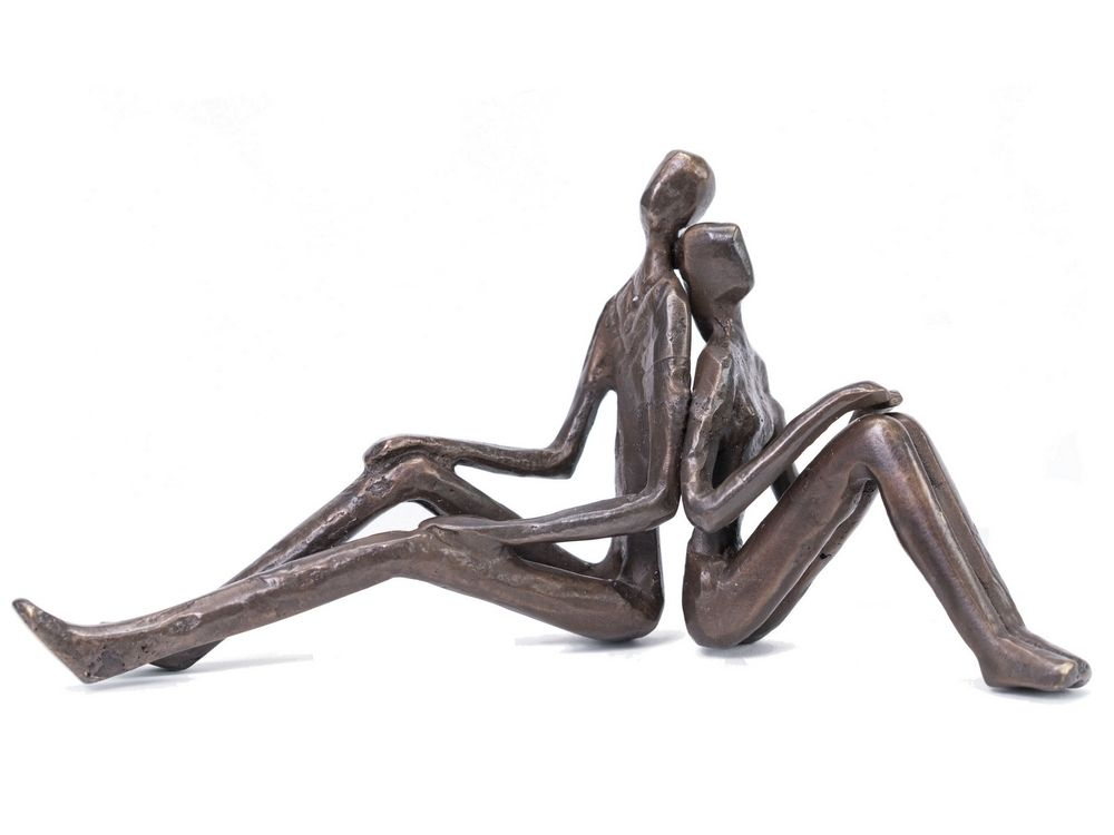 Back to Back Sitting Couple Sculpture in Solid Bronze
