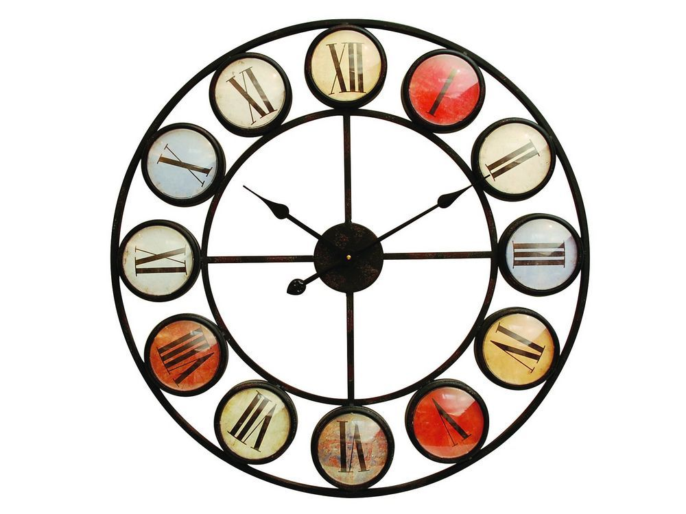 Home Accessories Smarty Iron Clock with Coloured Domed Numerals