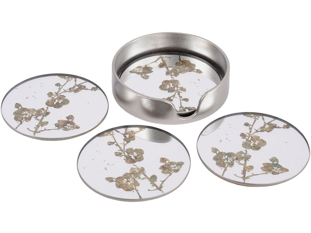 'Blossom Design Mirrored Coasters - Set of 4'