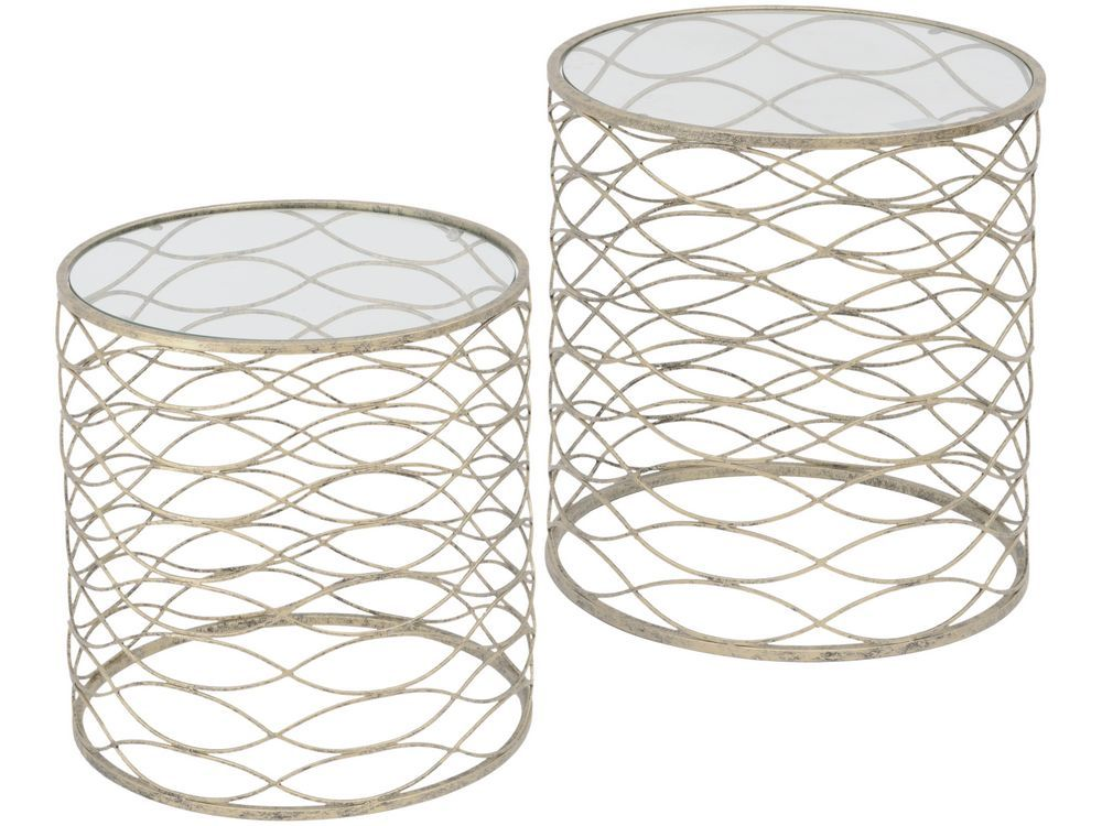 Gatsby Antique Silver Nesting Side Tables