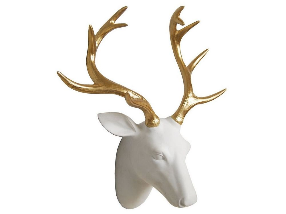 White Stag Head Hanging Gold Antlers