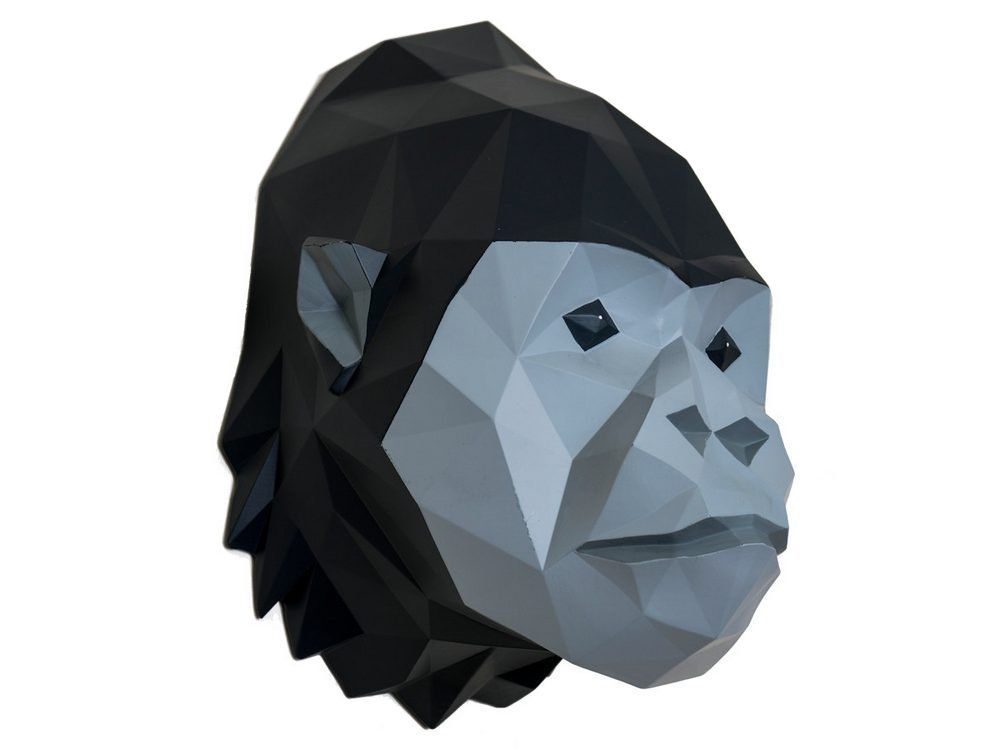 Origami Gorilla Head Wall Hanging