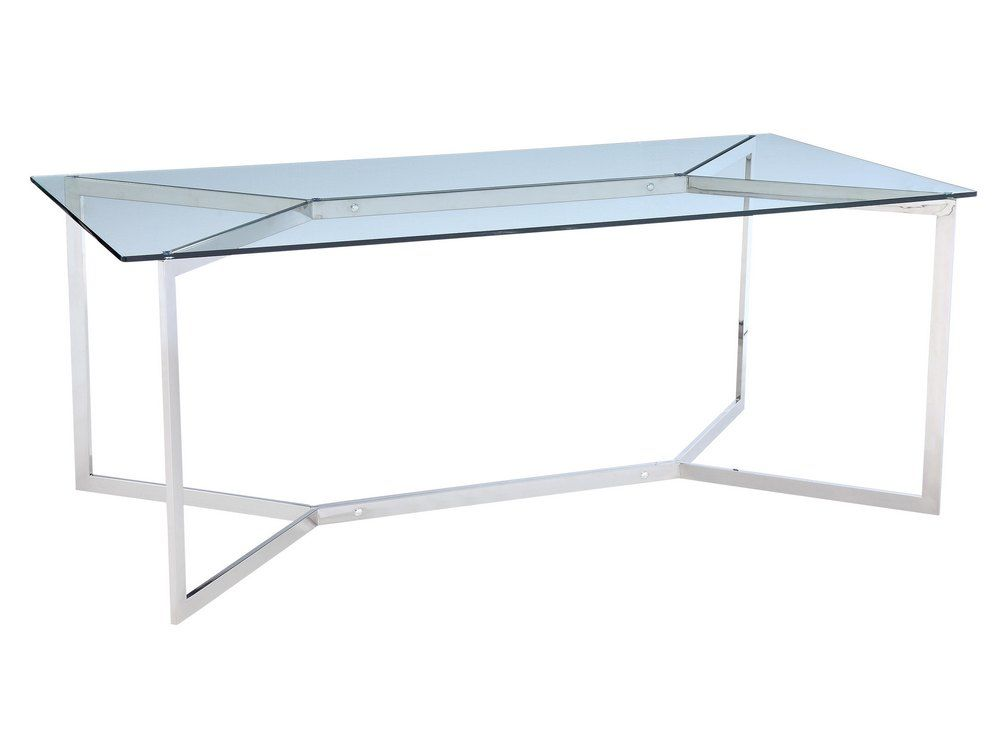Shefford Stainless Steel and Glass Dining Table