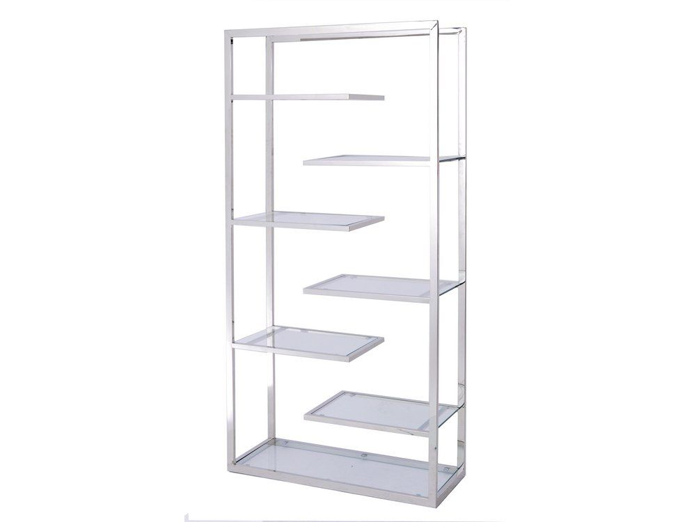 modern metal and glass display unit | steel and glass stepped shelf ...