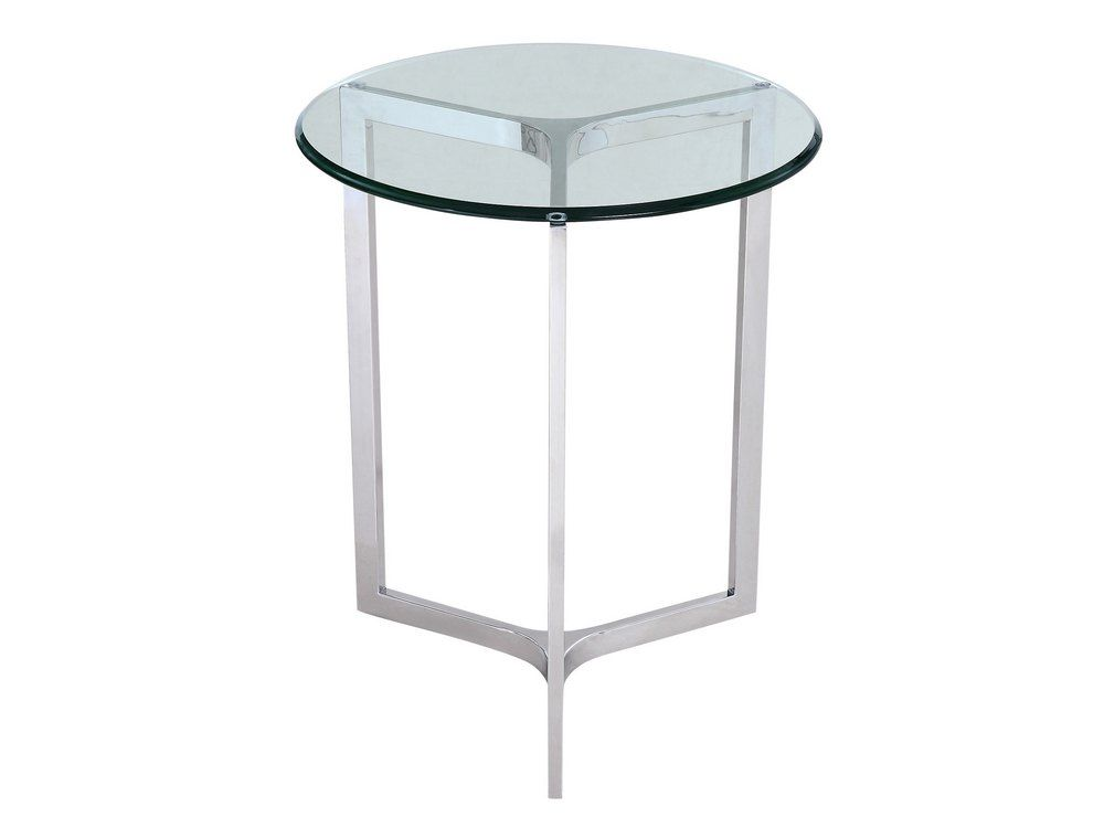 Stainless Steel And Gl End Table