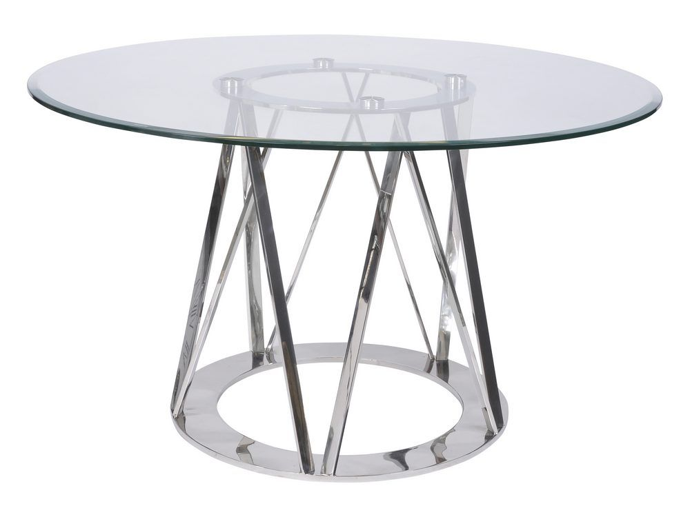 Timo Stainless Steel Glass Round Dining Table
