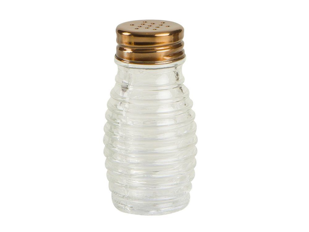 Beehive Glass Salt Pepper Shaker With Copper Finish Lid