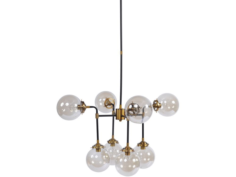 Carlton Art Deco Black and Brass Chandelier