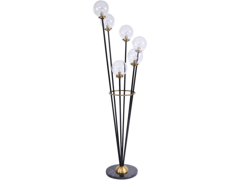 Carlton Art Deco Black and Brass Floor Lamp