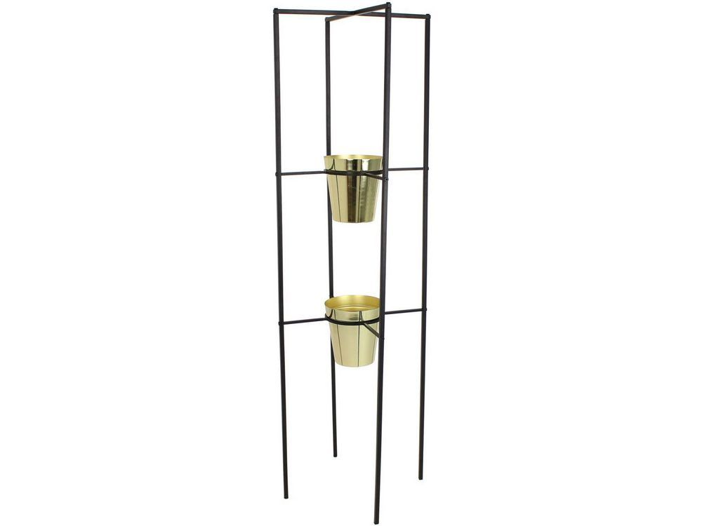 Floralta High-rise Gold Planters in Black Metal Stand