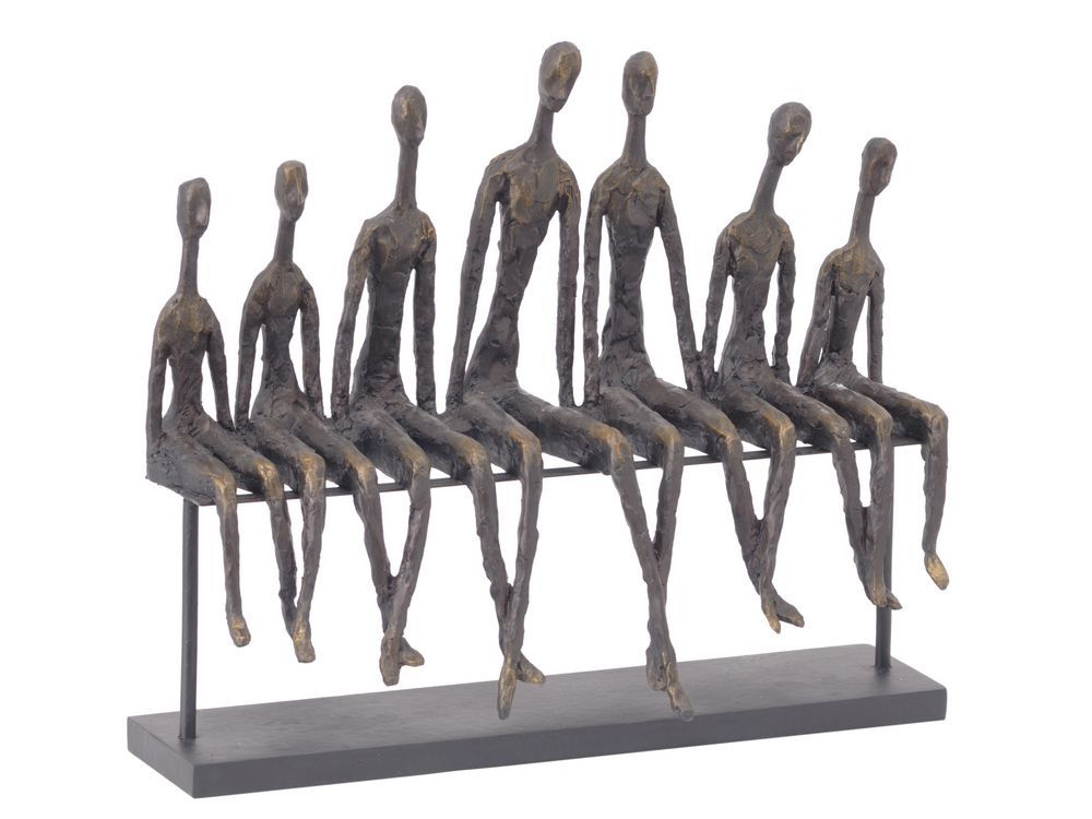 Matchstick Men Sculpture People Sitting On Bench