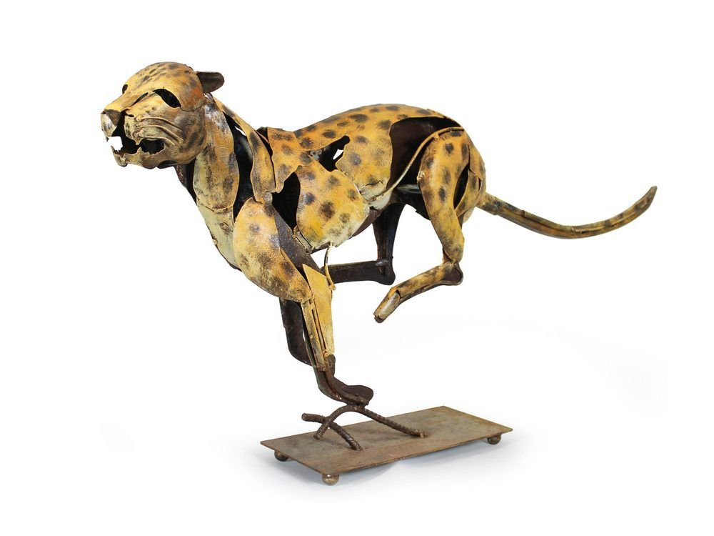'Juno Sprinting Jaguar Sheet Metal Sculpture'