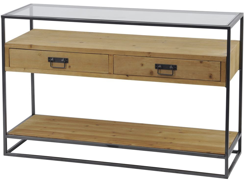 kempsey glass top wood console table p