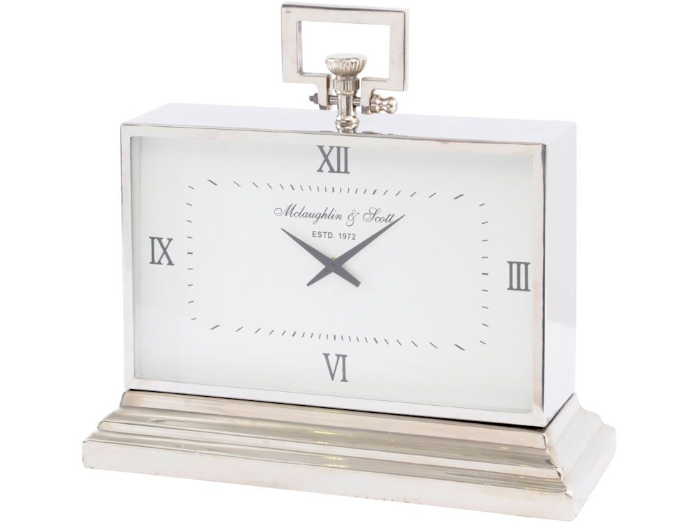 Silver Mantel Clock Shiny Metal