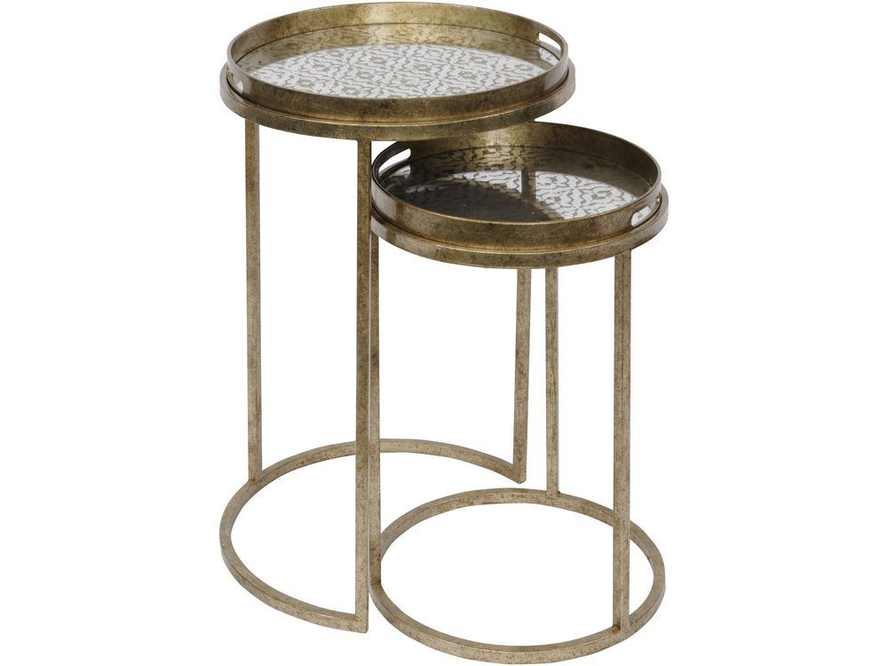 Marco Aged Gold Round Nesting Tray Tables With Diamond Print Mirror Tops