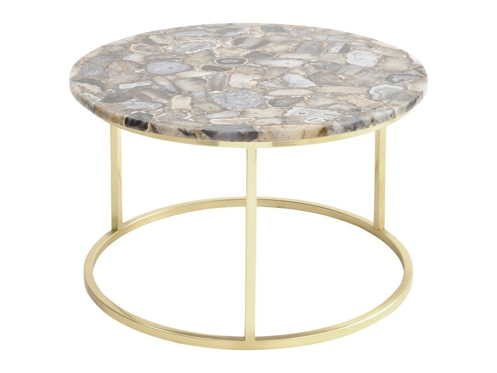 Meso Agate Round Coffee Table With Brass Frame