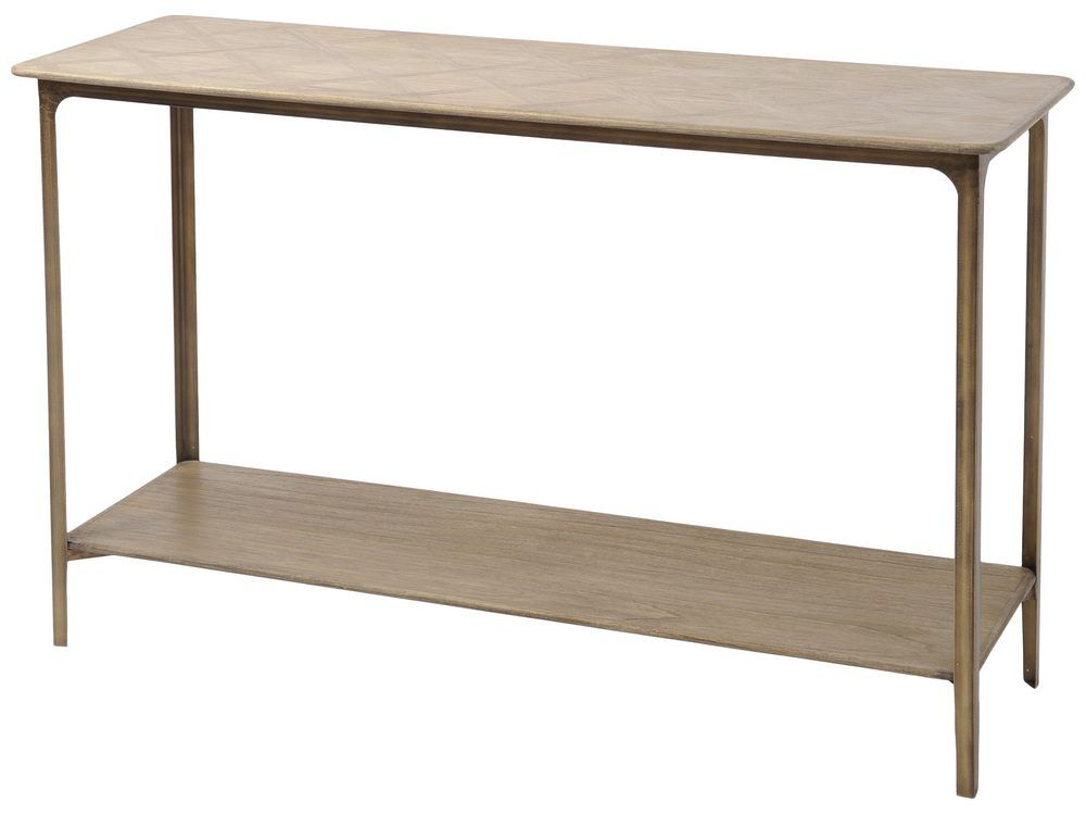 Newick Parquet Textured Wood Console Table
