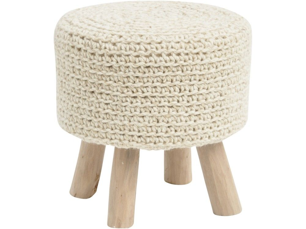Natural Knitted Stool Woven Wool Foot Stool