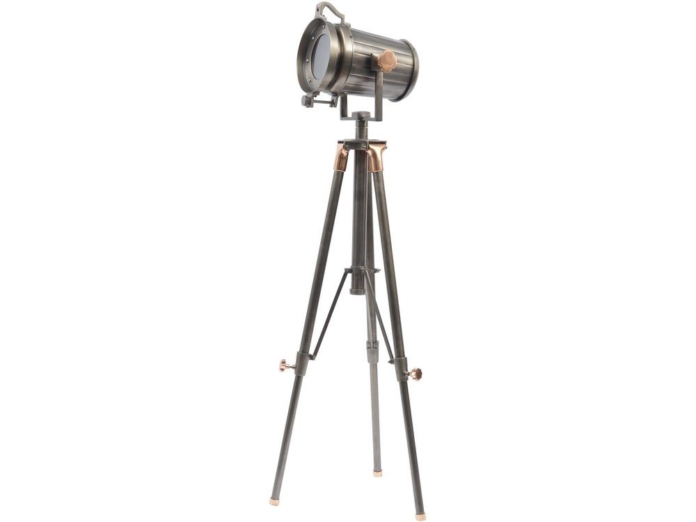 Tripod spotlight floor lamp metal searchlight tripod lamp libra charlie copper and grey - Tripod spotlight lamp ...