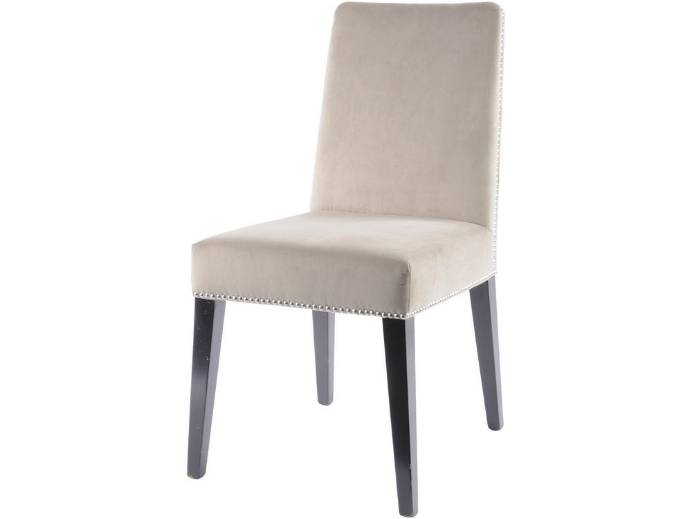 Cream riveted dining chair taupe upholstered dining chair for Cream upholstered dining chairs