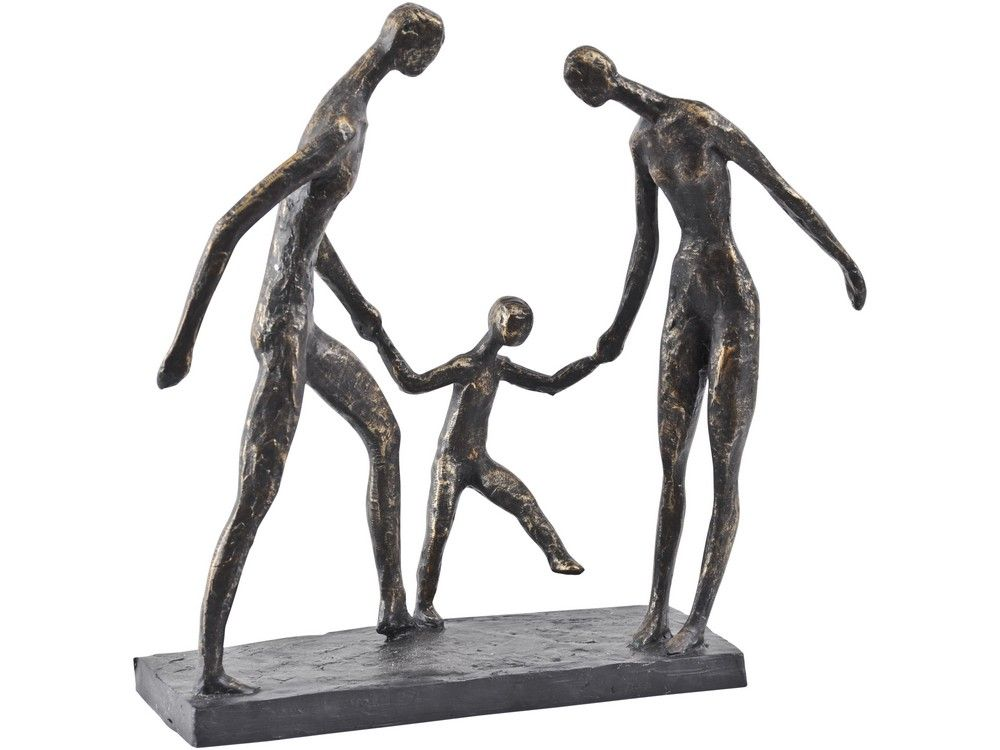 Unity Family Trio Holding Hands Sculpture