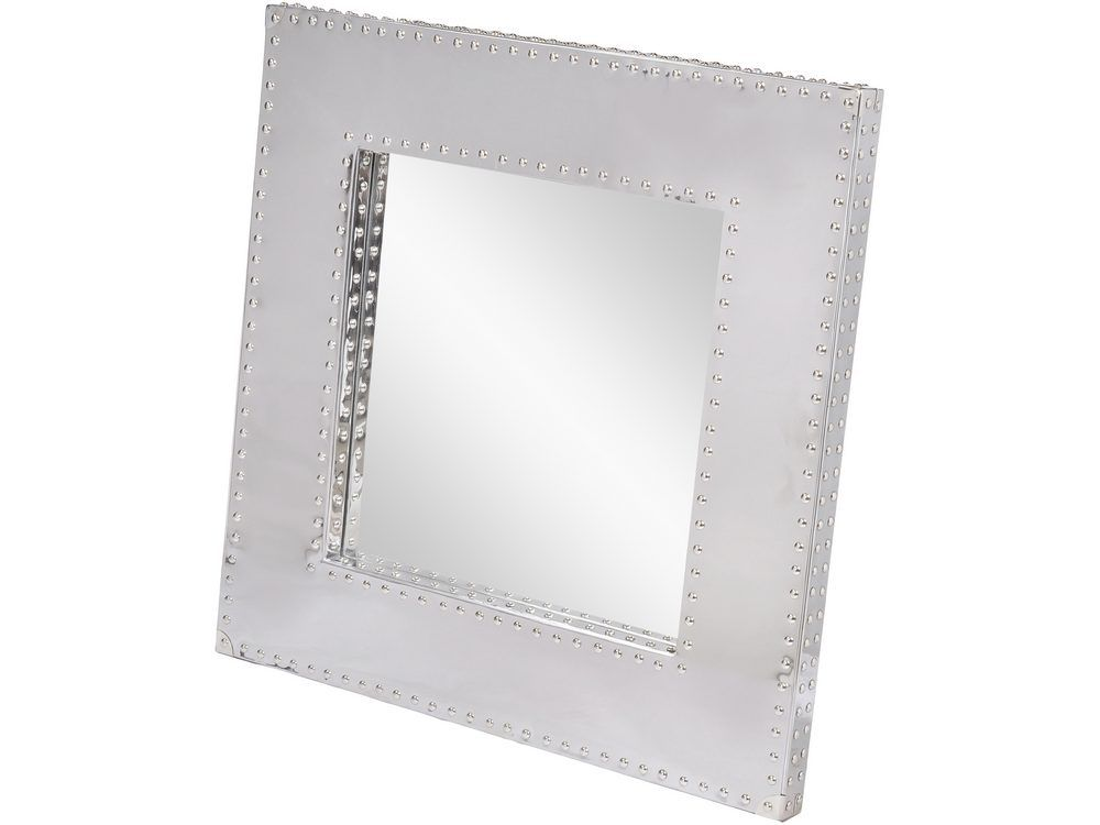 'Viscount Polished Steel Mirror with Stud Detailing'